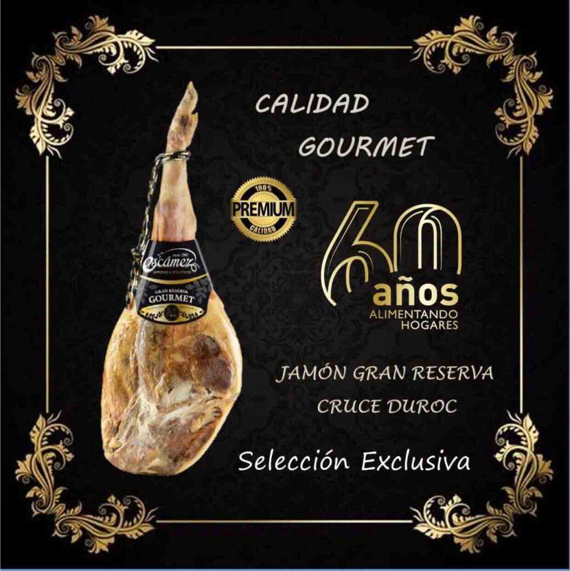 Jamón serrano Gran Reserva Gourmet de Embutidos Escámez. Cruce Duroc.