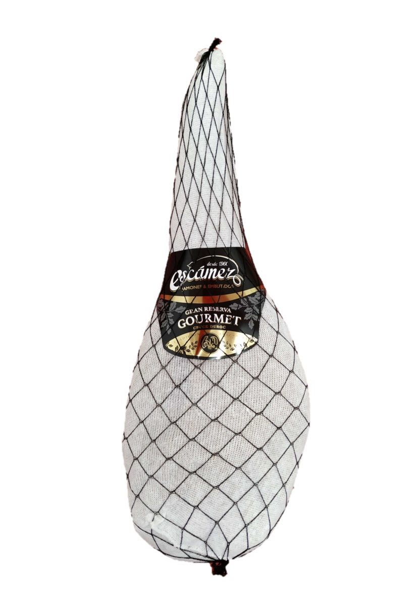 Packaging jamón serrano gran reserva gourmet de Embutidos Escámez.