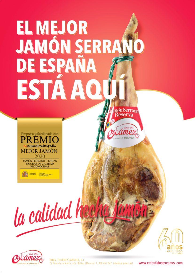 Premio Mejor Jamón Serrano de España 2020 de Embutidos Escámez.
