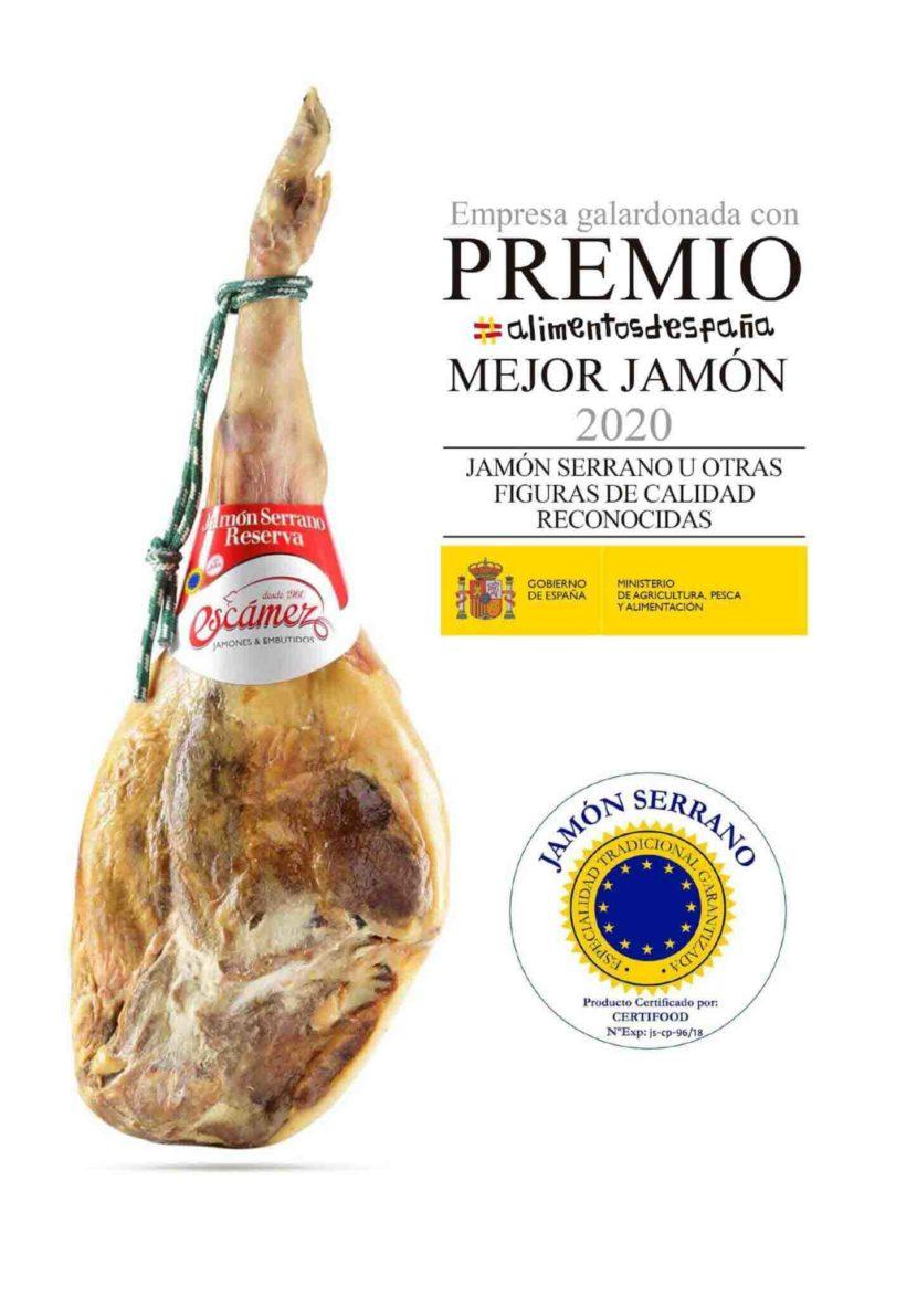 Mejor Jamón Serrano de España Año 2020 - Jamón Serrano Reserva Escámez
