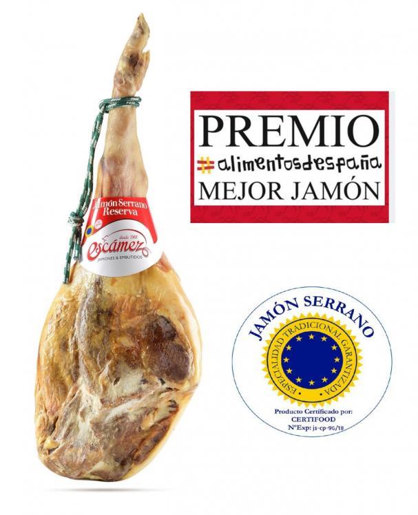 Jamón Serrano Escámez ganador del premio alimentos de España Mejor Jamón 2020.