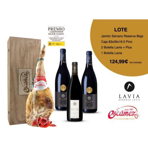 Lote de productos que incluye: jamón serrano reserva con caja de madera, 2 botellas lavia plus y 1 botella de lavia. Venta online
