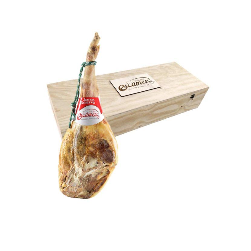 Jamón Serrano Reserva con caja de madera. Disponible para la venta online