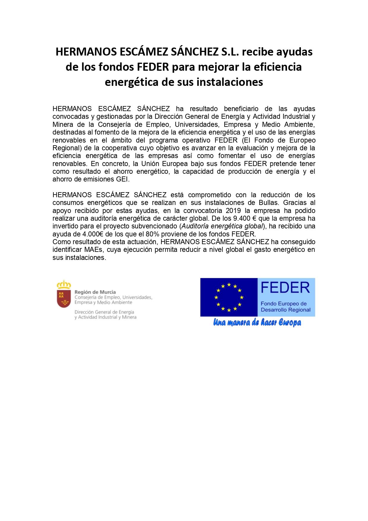 Nota de Prensa FEDER